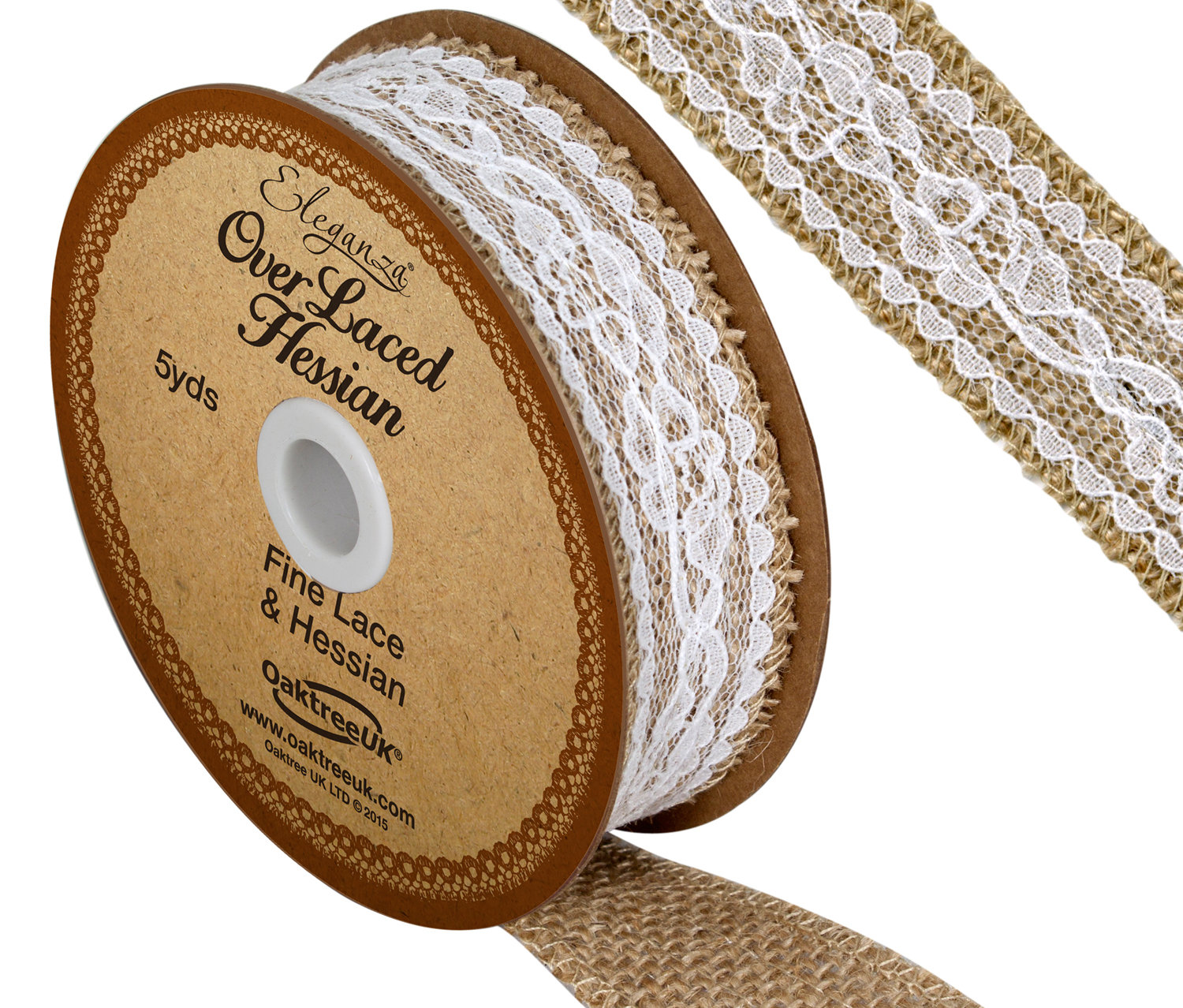 26mm Eleganza White Overlaced Hessian