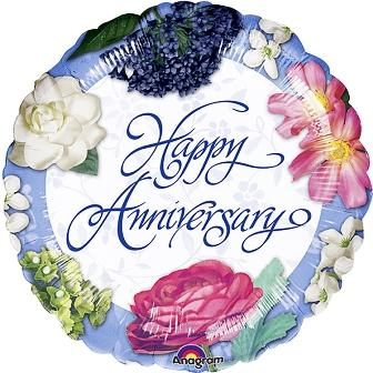 "18"" Happy Anniversary Garden Bouquet Foil"