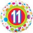 """18"""" Age 11 Colourful Dots Foil"""