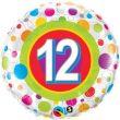 """18"""" Age 12 Colourful Dots Foil"""