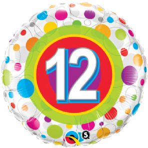 "18"" Age 12 Colourful Dots Foil"
