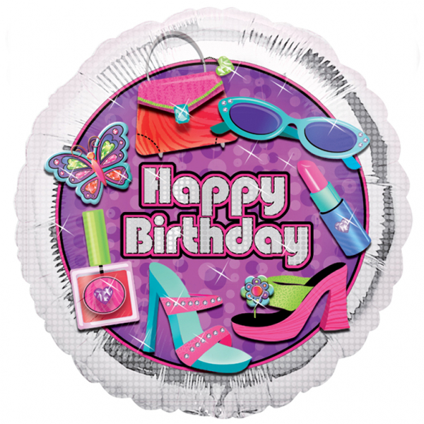 "18"" Glitzy Girl Happy Birthday Foil"