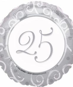 """18"""" Silver 25th Anniversary Foil"""