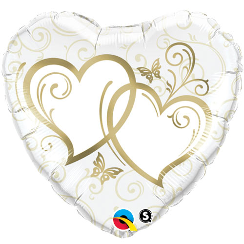 """18"""" Entwined Hearts Gold Foil"""