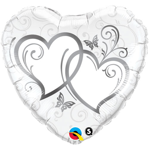 "18"" Entwined Hearts Silver Foil"