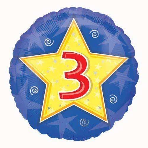 "18"" Stars & Swirls 3rd Birthday Foil"