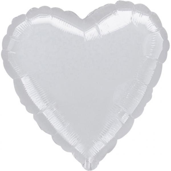 """18"""" Metallic Silver Heart Foil"""