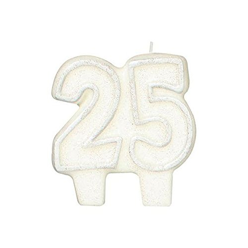 Silver Glitter Numeral '25' Cake Candle