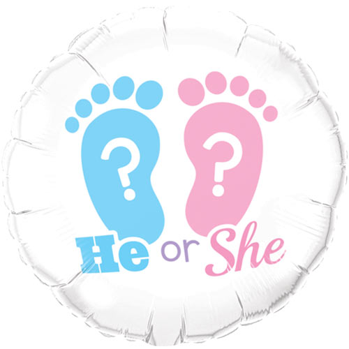 "18"" He or She? Footprints Foil"
