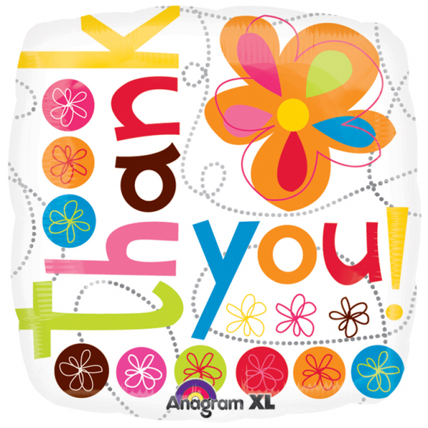 "18"" Thank You Colourful Flowers Foil"