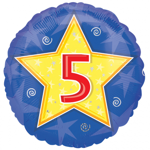 "18"" Stars & Swirls 5th Birthday Foil"