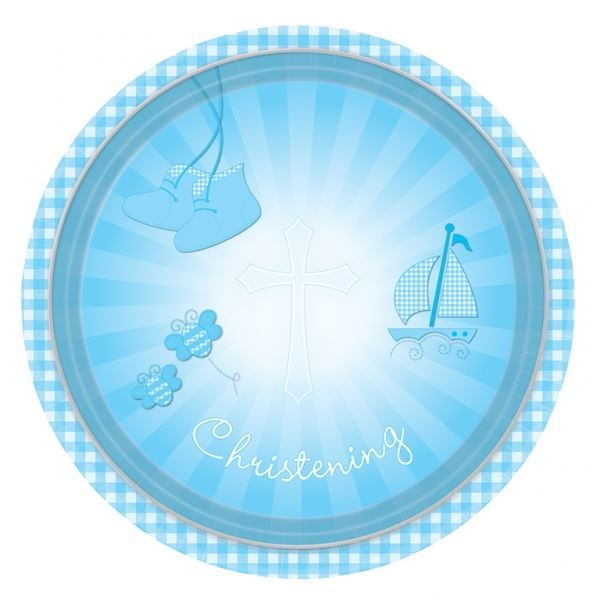 Christening Blue Booties Paper Plates