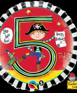 """18"""" Rachel Ellen Age 5 Pirate Stripes Foil"""