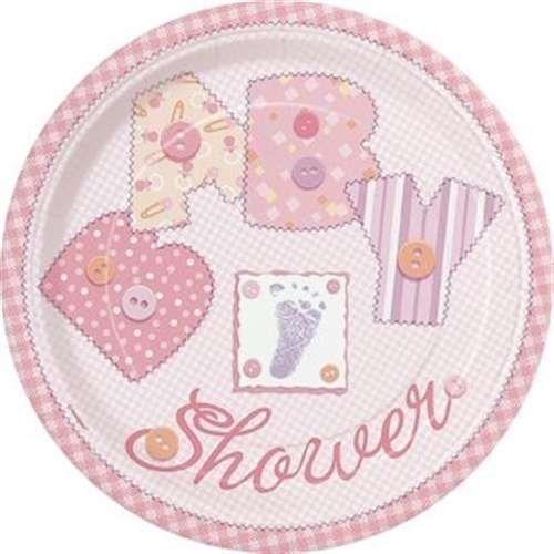 Baby Pink Stitching Paper Plates