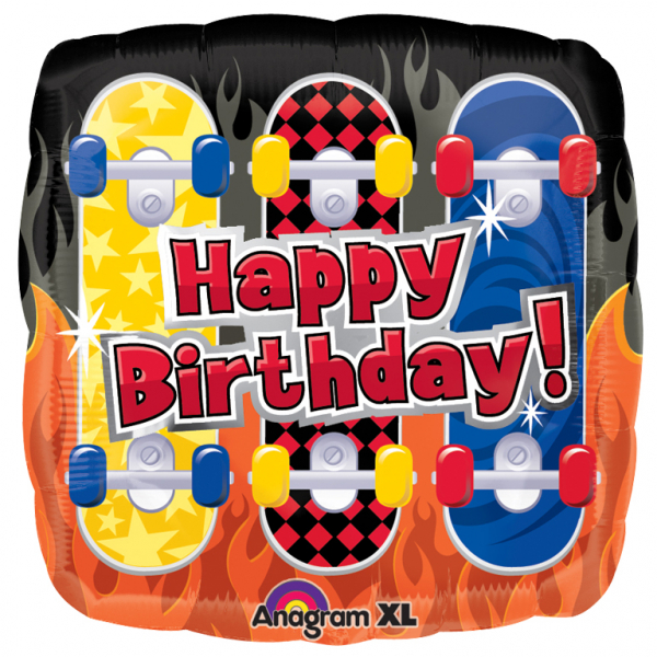"18"" Happy Birthday Skateboards Foil"