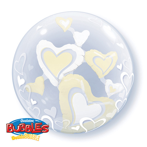 "24"" White & Ivory Floating Hearts Double Bubble"