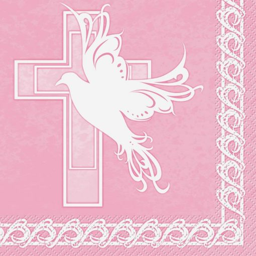 Dove Cross Pink Luncheon Napkins