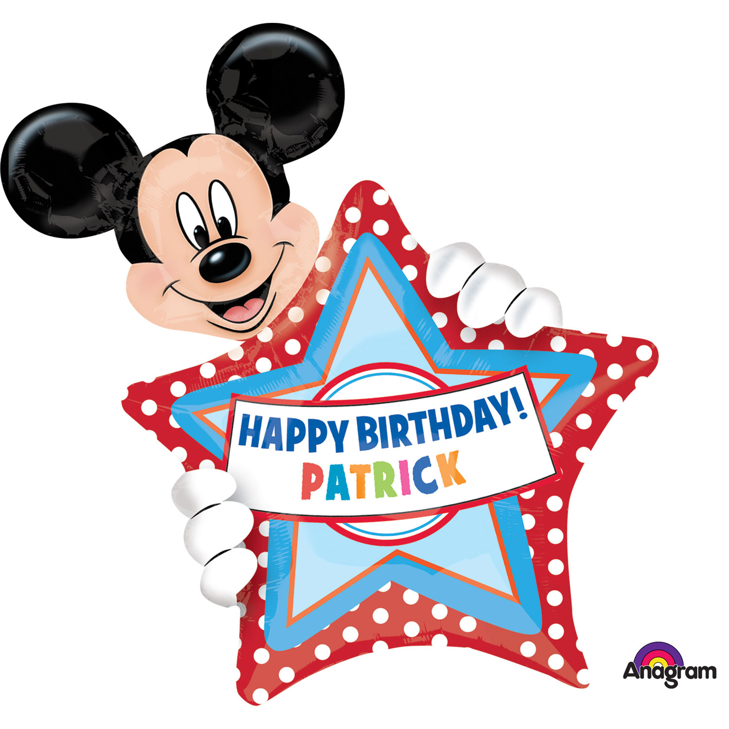 "24"" SuperShape Mickey Mouse Personalised Birthday Foil"