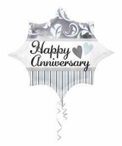 "20"" Elegant Happy Anniversary Burst Junior Shape Foil"
