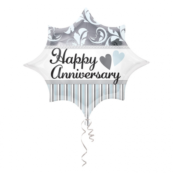 "20"" Elegant Happy Anniversary Burst Junior Shape Foil"