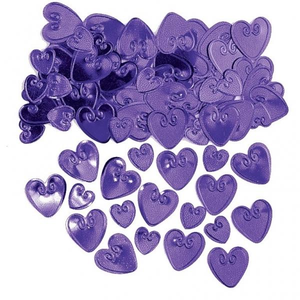 Plum Loving Hearts Embossed Confetti