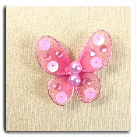 Small Pink Sequin/Pearl Butterfly