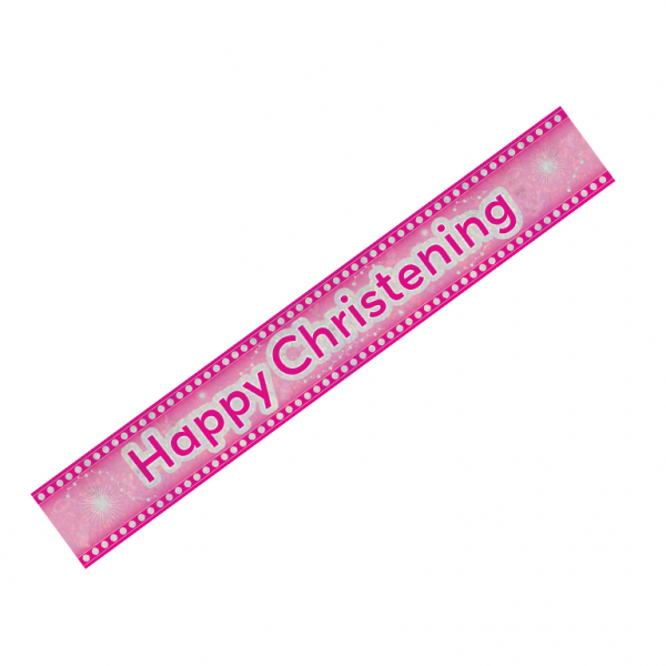 Happy Christening Pink Holographic Banner