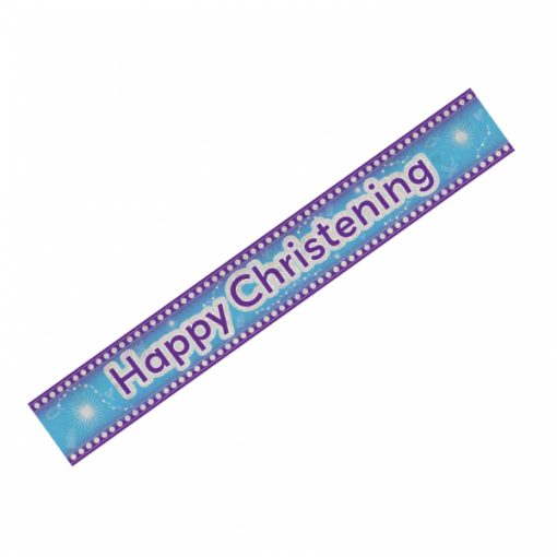 Happy Christening Blue Holographic Banner
