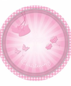 Christening Pink Booties Paper Plates