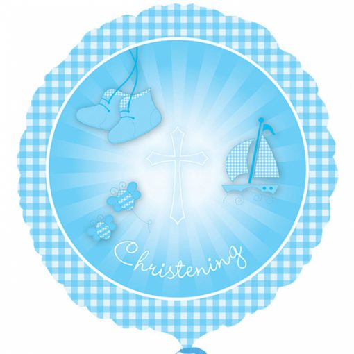 "17"" Christening Booties Blue Foil"