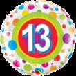 """18"""" Age 13 Colourful Dots Foil"""