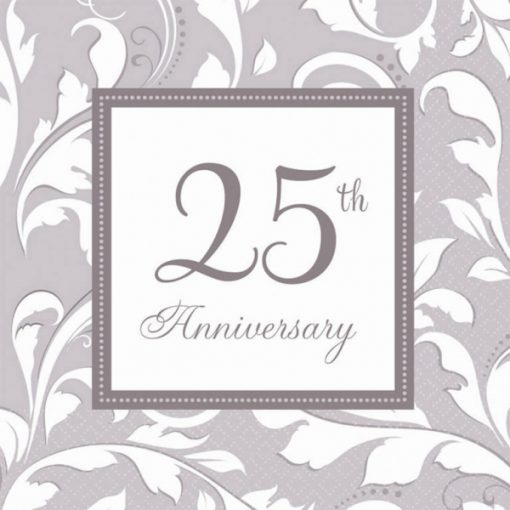 Silver Elegant Scroll 25th Anniversary Luncheon Napkins