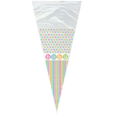 Cone Shape Cello Gift Bags with Ties - Baby