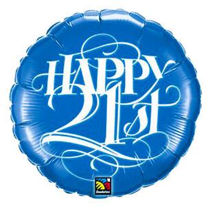 "18"" Happy 21st Blue Foil"