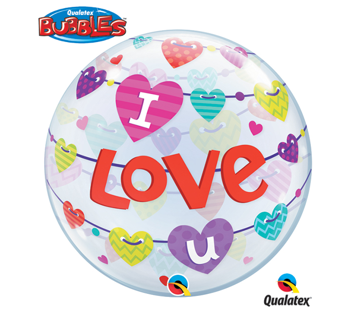 "22"" I Love U Banner Single Bubble"