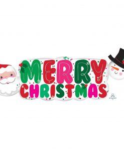 Santa & Snowman Banner Supershape Foil