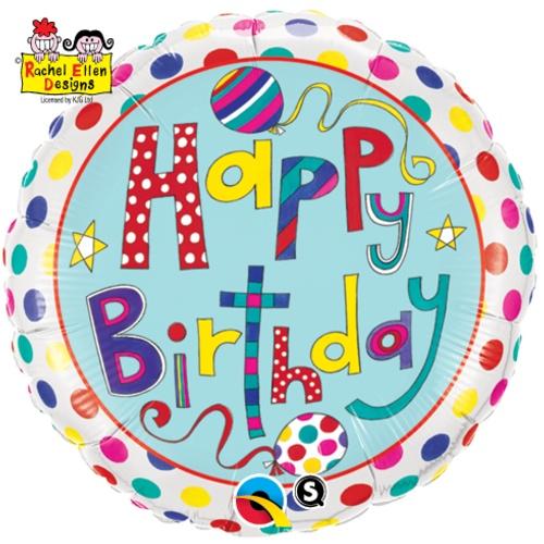 "18"" Rachel Ellen Happy Birthday Polka Dots and Stripes Foil"