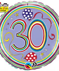 """18"""" Rachel Ellen 30th Polka Dots and Stripes Foil"""