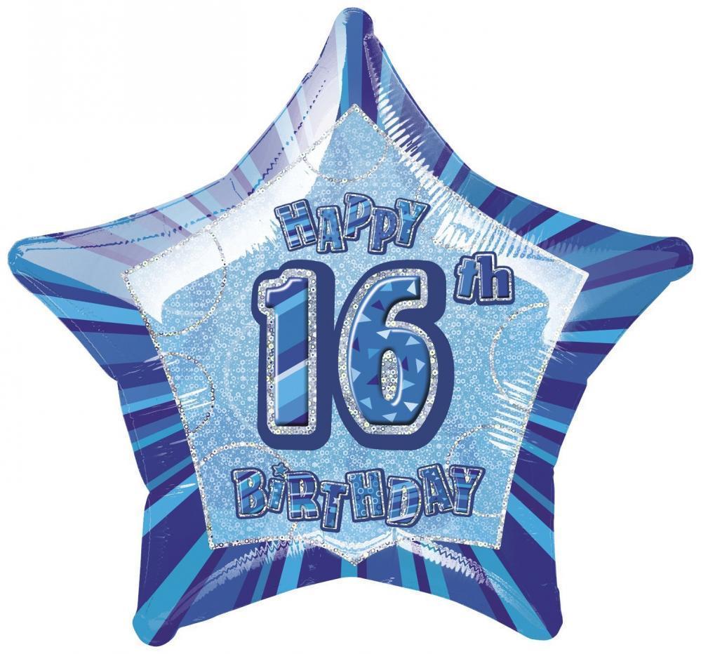 "20"" Blue Star Happy 16th Birthday Prism Foil"