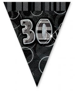 Black/Silver Age 30 Prism Pennant Banner