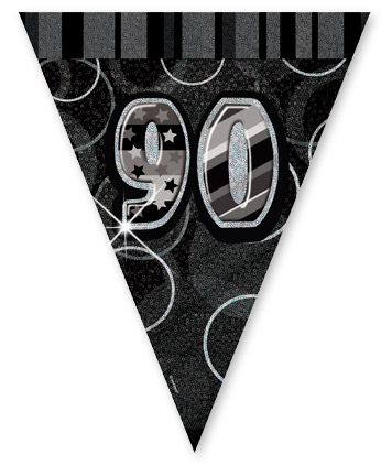 Black/Silver Age 90 Prism Pennant Banner