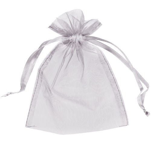 Sheer Organza Favour Bags - Silver