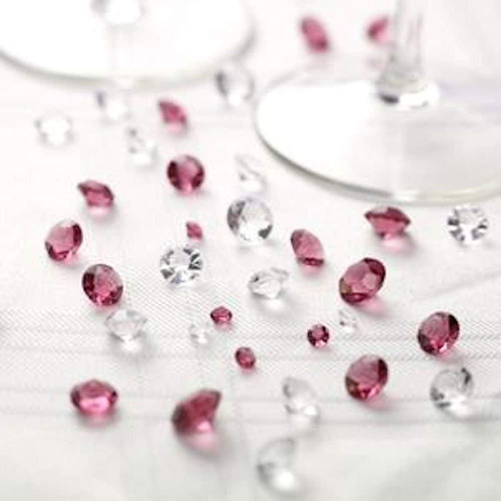 Table Crystals Burgundy and Clear