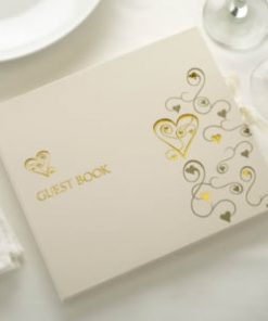 Guest Book Gold Hearts
