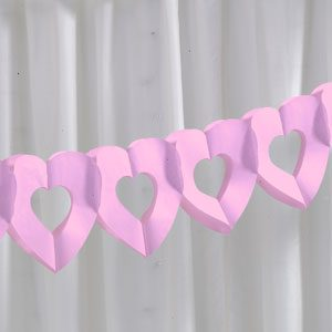 Pink Tissue Heart Garland