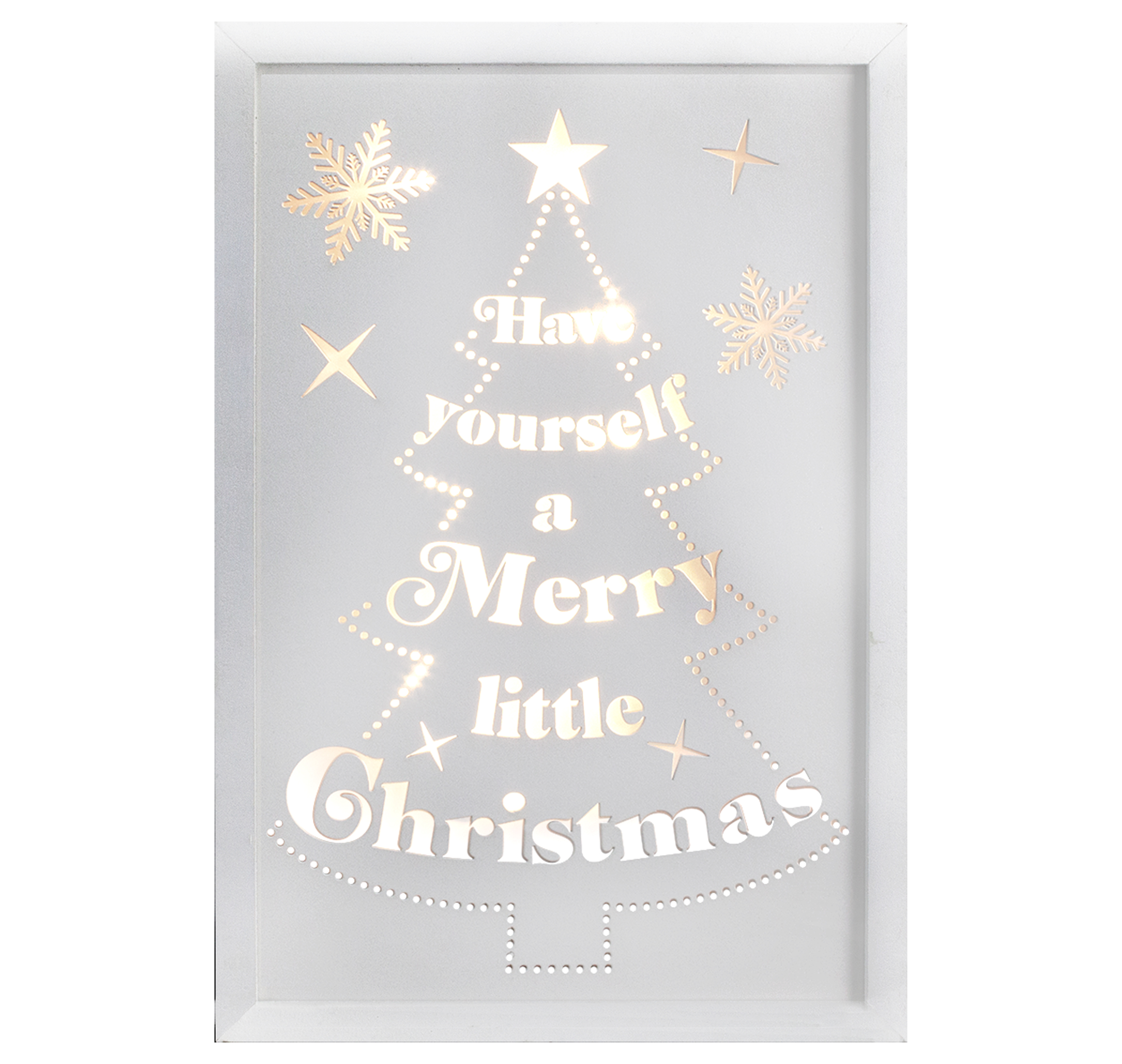Décor Lites Wooden LED Box White Merry Little Christmas