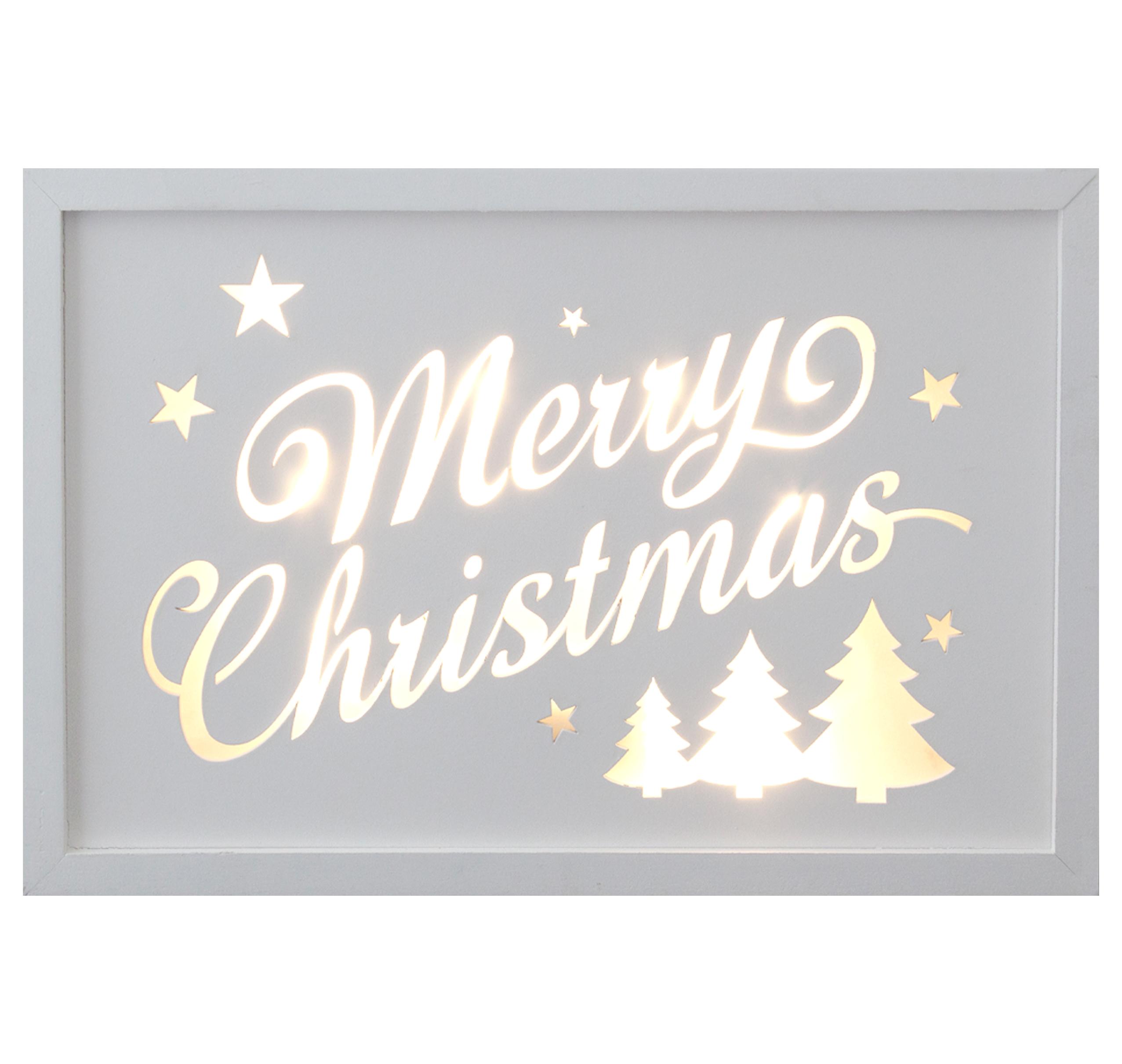 Décor Lites Wooden LED Box White Merry Christmas Trees