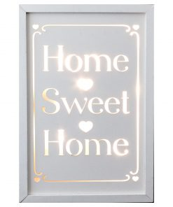 Décor Lites Wooden LED Box White Home Sweet Home