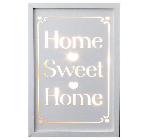 Décor Lites Wooden LED Box White Home Sweet Home