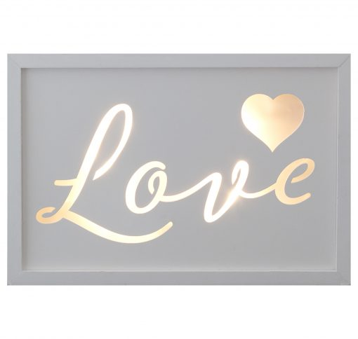 Décor Lites Wooden LED Box White Love
